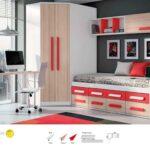 Mueble juvenil en colores blanco y rojo con compacto con 2 alturas de cajones