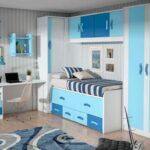 Mueble juvenil en colores blancos y azules,mueble compacto con 2 camas y cajones