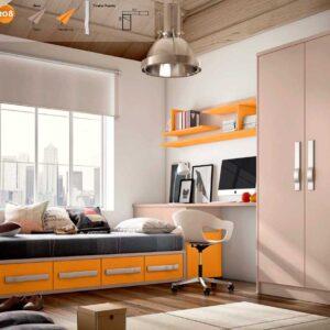 Cama con cajones,mesa estudio y arcón extraible con armario a medida.