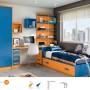 Cama nido con mesa estudio y armario.