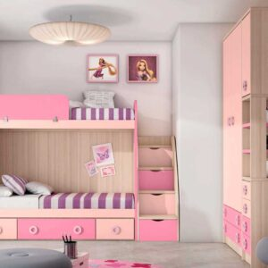 Litera con 2 camas y cajones,escalera sinfonier y armario a medida.