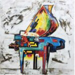 Cuadro pintado a mano piano.