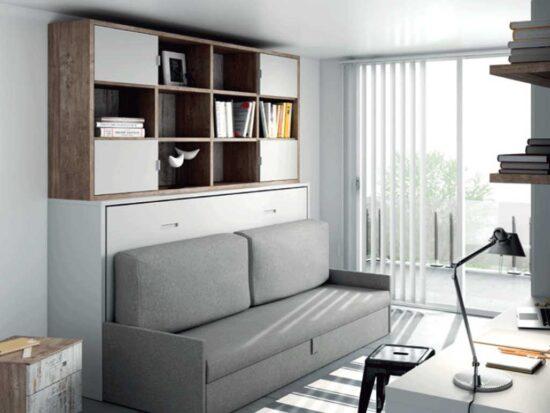 Cama abatible con sofá y armario librería.