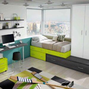 Dormitorio Juvenil con cama block con cajones y cama nido.