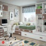 Dormitorio Juvenil con cama block con cajones y cama nido.mesa estudio y librerías.