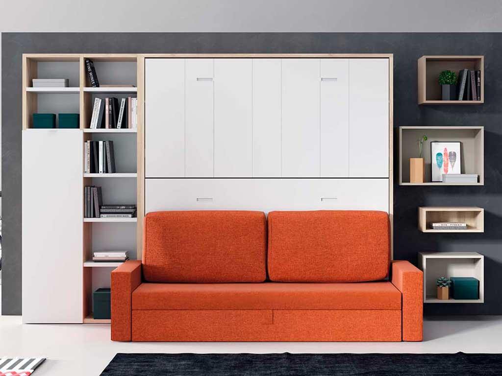 Litera abatible con sof white muebles - Literas con sofa ...