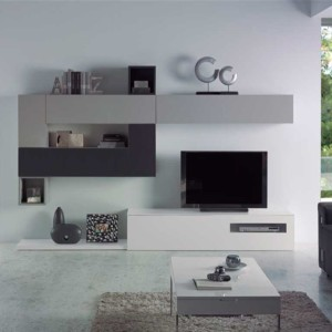 Mueble de salón moderno fabricado en madera lacada.