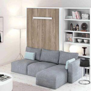 Cama abatible con chaise-longue y librería A13