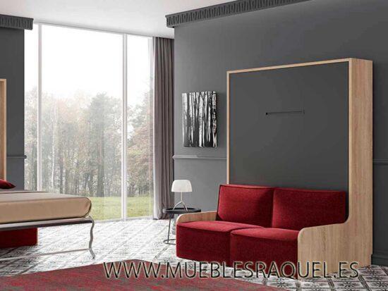 Cama abatible con sofá para pladur