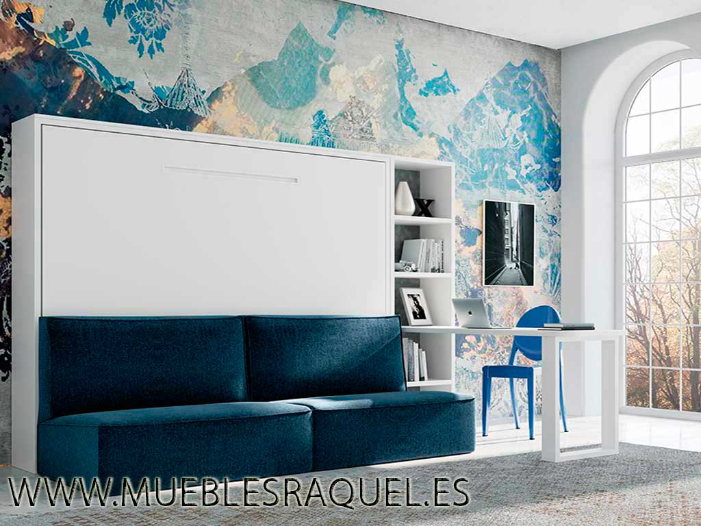 Cama abatible horizontal con sofá