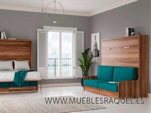 Cama abatible horizontal space 34,5 con sofá-arcón