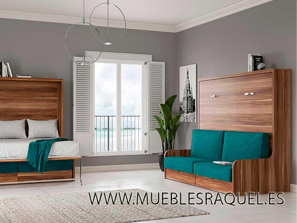 Cama abatible horizontal con sofá para pladur