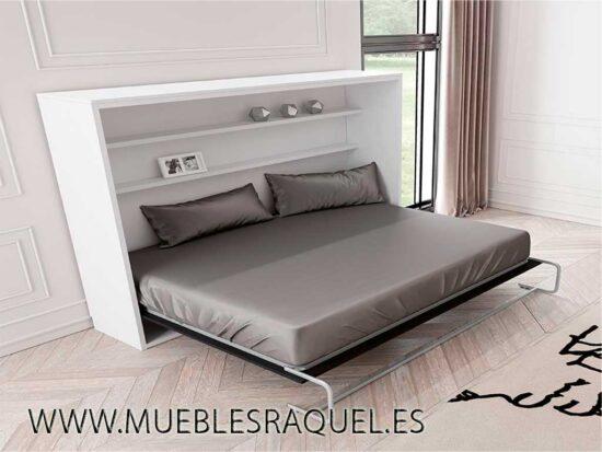 Cama abatible horizontal con estantes interiores