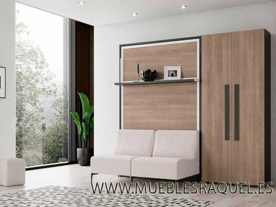 Cama abatible vertical con estante y sofá rumba