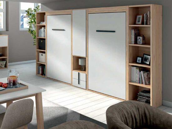 Camas abatibles verticales con armarios y librerías