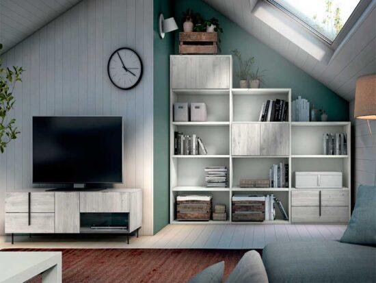 Librería con forma escalera y módulo de televisión
