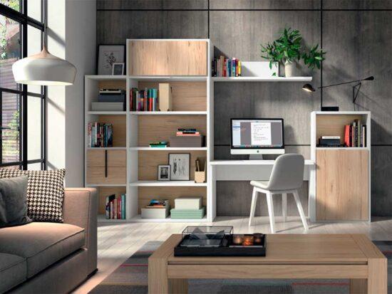 Librería y mesa estudio con camas abatibles