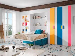 cama abatible modelo venecia con estantes ot 01