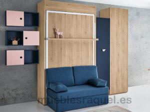 cama abatible juvenil sofa y estantes ot7